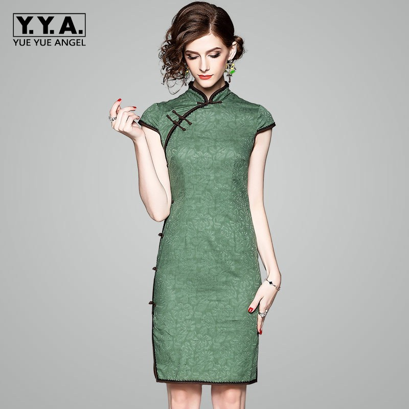 S-3XL Femmes De Luxe Littéraire Chinois Qipao Ouvert Cheongsam Jacquard Mince robe femme Vert Élégante robe de fête Femmes D'été