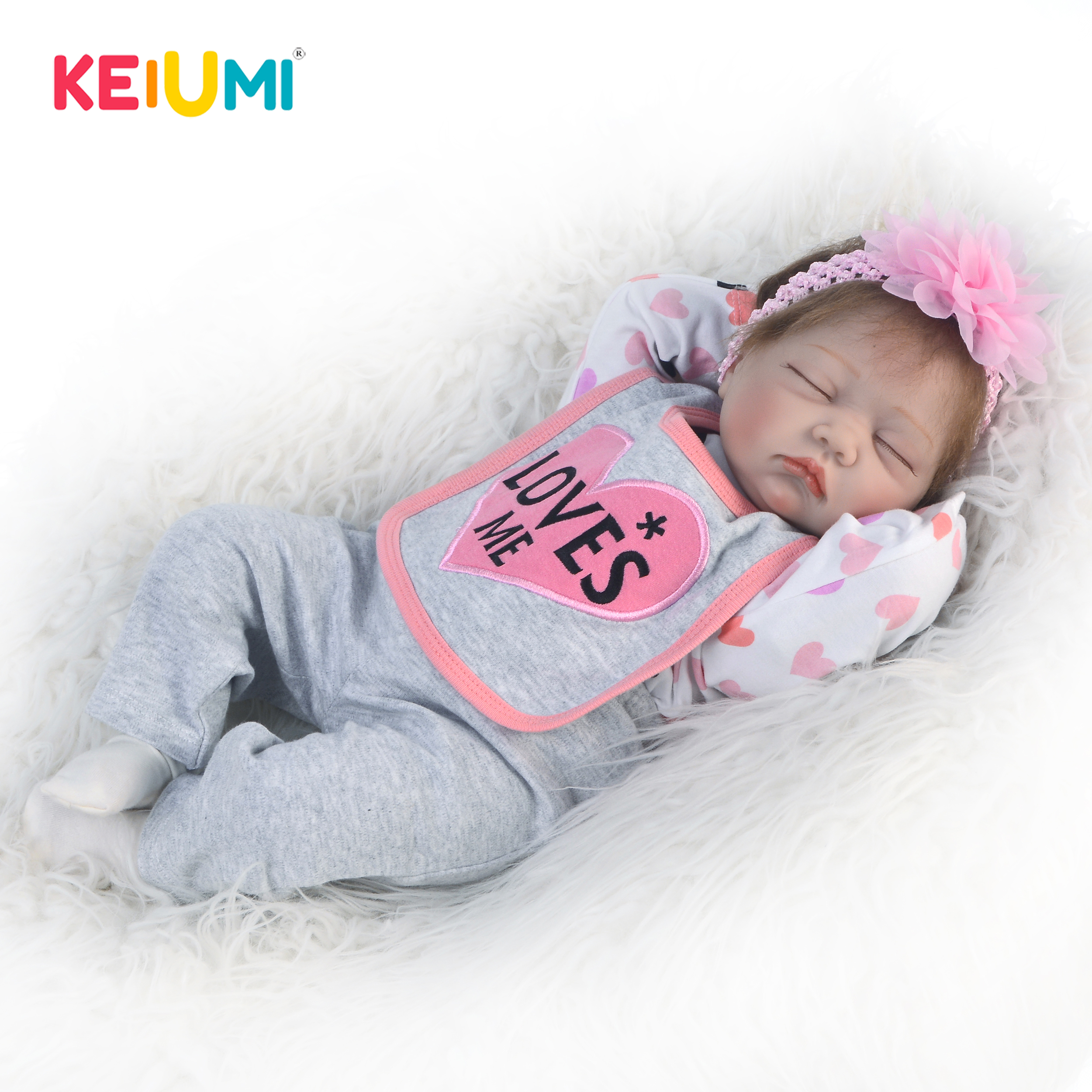 """Girl Baby Reborn Dolls Real Life Soft Silicone Sleeping Toddler Doll for Kid 22/"""""""