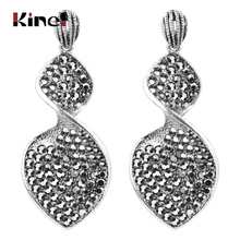 Kinel Fashion Bohemia Drop Earrings For Women Antique Silver Big Leaf Crystal Earring Turkish Inida Ethnic Wedding Jewelry