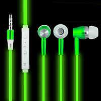 Lu mi nous écouteurs fil dans l'oreille lueur dans le noir métal écouteurs Sport mains libres écouteurs pour xio mi xia mi xao mi smartphone