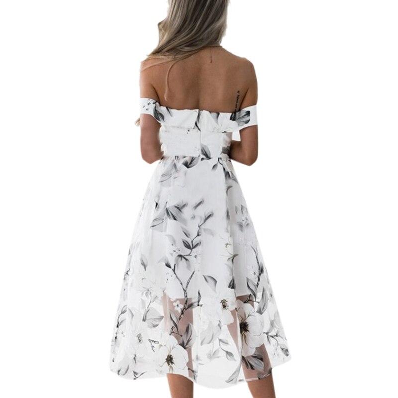 Boho style midi dress women off shoulder beach summer dresses mid calf  floral print tulle voile gauze swing vestidos de festa-in Dresses from  Women s ... 651f665602be