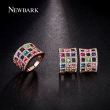 NEWBARK Big Square Colorful Necklace And Earrings Jewelry Set Rose Gold Plated Crystal Hollow Out Women Christmas Gifts Jewelry
