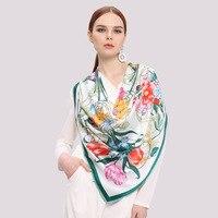 High Quality Women Stain Silk Square Scarf Super Large Size Flower Pashmina Handkerchief 110 X 110cm