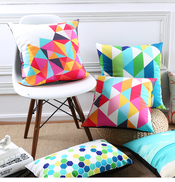Fantasy Colour Geometric Style Cushion Covers Triangles Hexagon Rhombus Stripe Pillow Cover Decorative Sofa Velvet