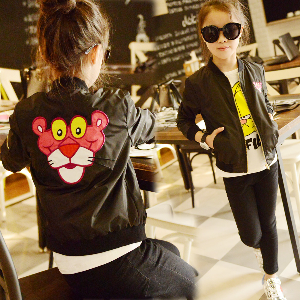 2016 spring female child the back embroidered black casual outerwear fashion design small short jacket