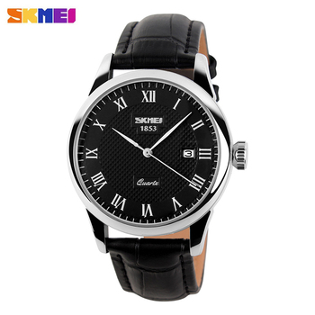 SKMEI Men Quartz Watches luxury Men's Watch  Real Leather Strap Business Male Clock Wristwatches Man Relogios Masculino 9058 baogela men s leisure quartz watches fashion clock leather strap analogue wristwatch relogios masculino 3atm waterproof bl1808