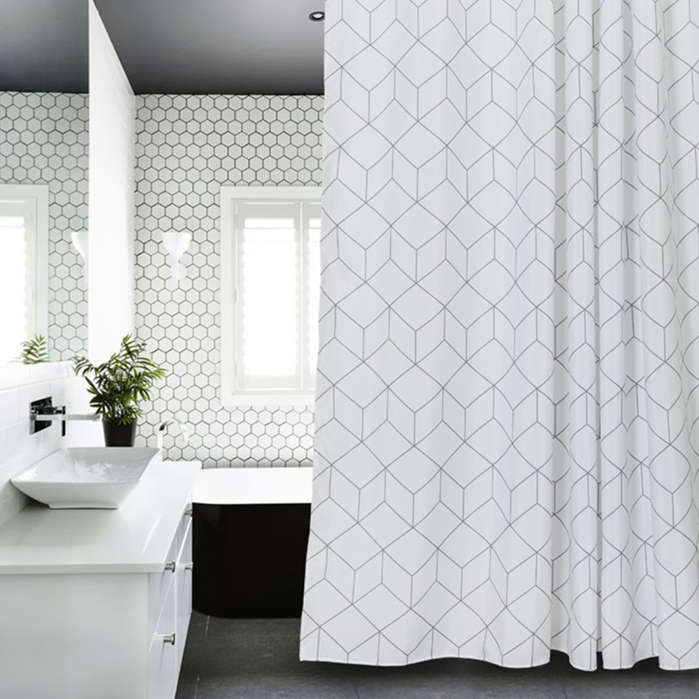 White Grey Bathroom Curtains: Aimjerry White And Grey Bathtub Bathroom Fabric Shower