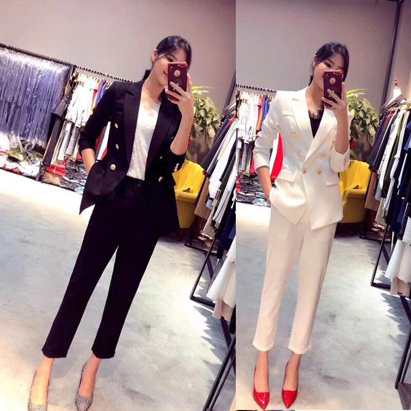 Costume Automne Bureau Blazer Femmes Work Étoiles Mode Même Recadrée Noir Pantalon Costumes blanc Et Femelle Wear Style Mince qwfZ0xBZX
