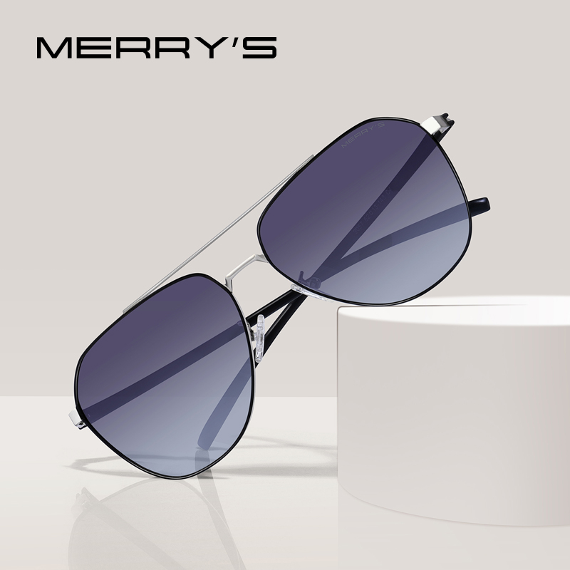 MERRYS DESIGN Men Classic Pilot Sunglasses Aviation Frame HD Polarized Sunglasses For Driving TR90 Legs UV400 Protection S8057
