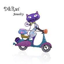 Purple Cat Lady Brooches Pin for Women Girls Enamel Cartoon Animal Brooch Fashion Motorbike Scarf Jewelry Accessories 2019