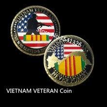 1pcs/lot US. Military Vietnam Veterans 24K Gold Plated Challenge coin