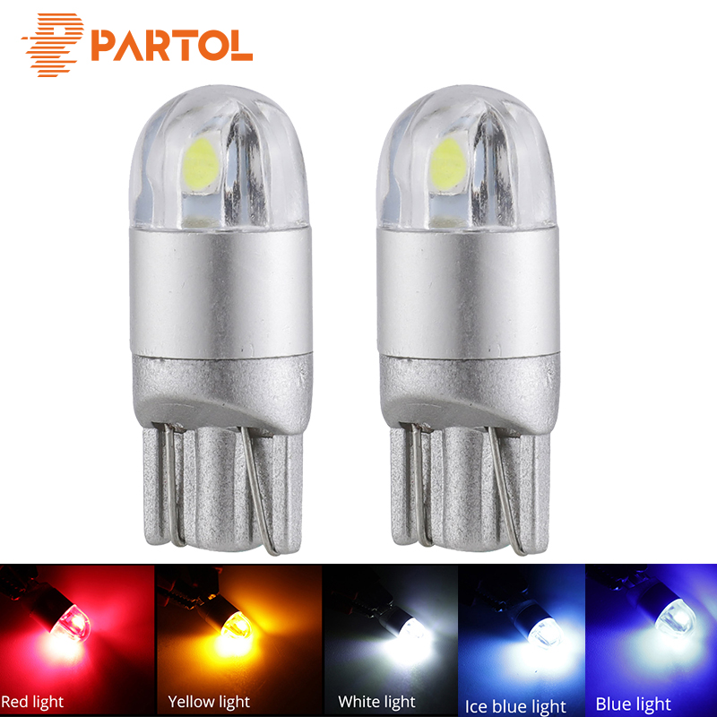 Partol 2Pcs T10 W5W 194 Car LED Light Bulbs T10 Turn Signal Lights Backup Reverse Light Clearance Brake Lamp Car Styling 5 Color gzkafolee 10pcs clearance lights t10 w5w led turn signal car lights 12v 5630 smd 100lm 5w