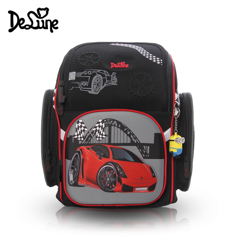 цена на Russia HOT High quality 3D car protect children 4-12 year Large capacity boy school bag free doll students child travel backpack