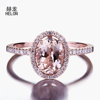 Oval 6X8MM 1.2ct Morganite Natural Diamonds Solid 10K Rose Gold Wedding Ring Engagement Fine Jewelry Gemstone Ring Setting