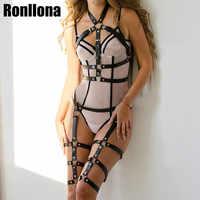 Sexy Unterwäsche 2 Stück Leder Harness Set Garter Gürtel Frauen Straps Bh Strumpf Körper Gürtel Taille Zu Bein Körper Bondage käfig Fetisch