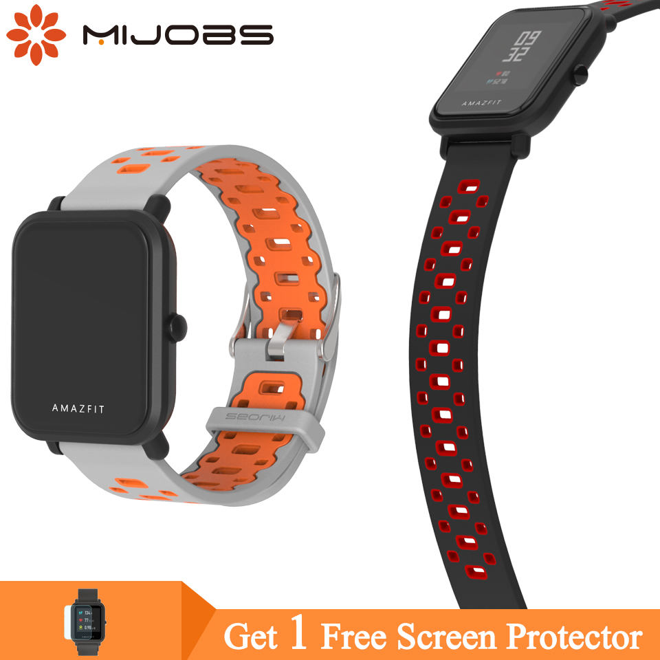 Mijobs Silicone Strap For Huami Amazfit GTS Smart Band Fitness Tracker Accessories For Xiaomi Amazfit Bip Bit Wristband Strap