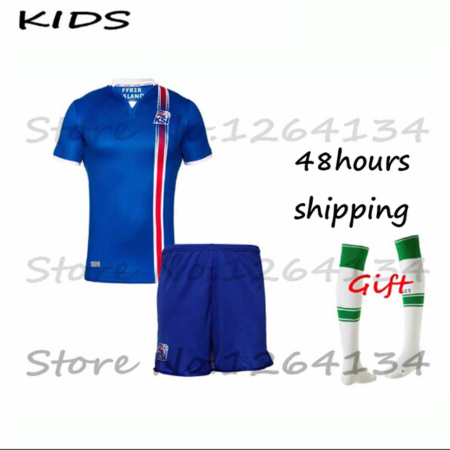 Iceland national team home jersey 2016 Children soccer jersey Iceland kids  shirts 2016 Iceland Top + pants kids football Jersey d0ea0875f