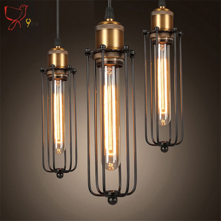 Loft Vintage iron pendant lights Black metal cage Industrial lighting fixture hanging Light for Warehouse Bar/Coffee with bulb vintage iron pendant light industrial lamps e27 cage pendant lamp hanging lights fixture with glass guard indoor lighting