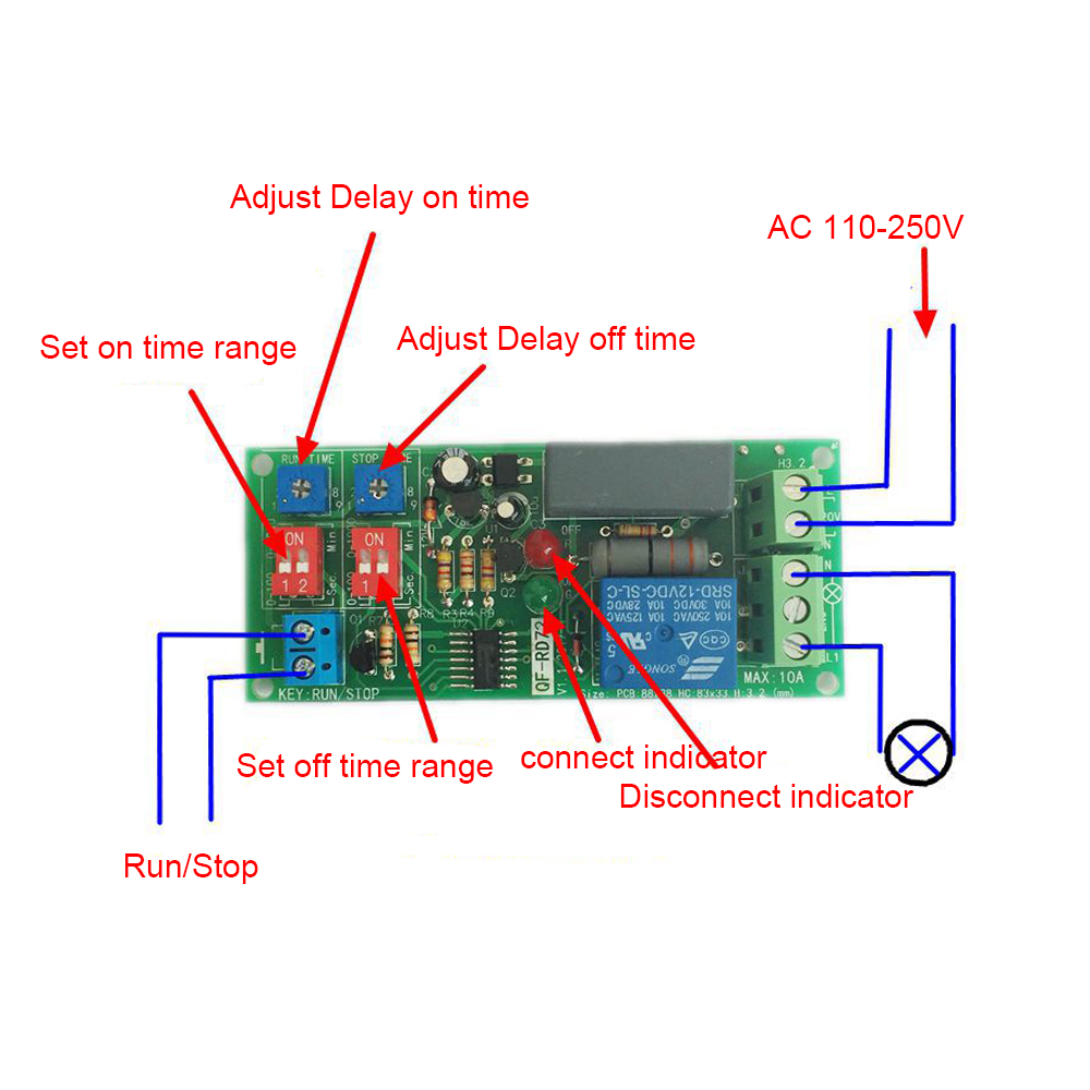 AC 100V-250V Adjustable Infinite Cycle Timer Delay On/Off Switch Relay Module цена