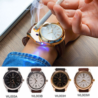 Hot Sale Men Women S Watch Clock Quartz Military Watches With USB Flameless Cigar Lighter Gold