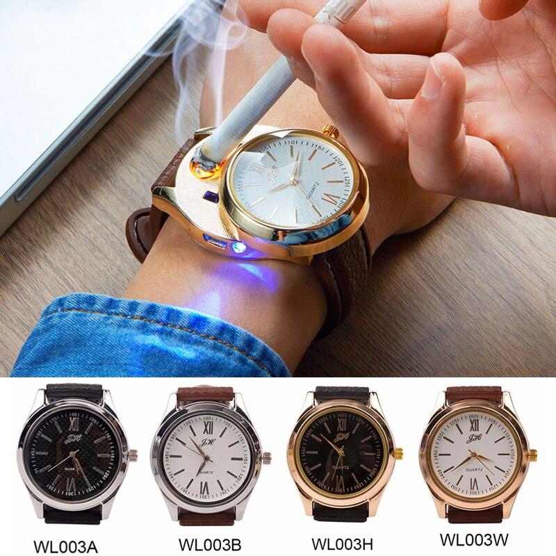 Oplaadbare USB Aansteker Horloges datum klok Elektronische mannen Casual Quartz Horloges Winddicht Vlamloze Sigarettenaansteker 33