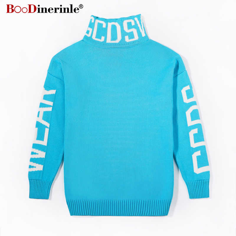 The Same Paragraph Sweater Blue Turtleneck Pullovers Thicken Male and Female Student Lovers Winter Sweaters 2019 K082