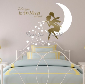Kids Wall Sticker Fairy, Newest Fairy Wall Decal with Blowing Heart Kisses I Love you to the Moon and Back Vinyl Wall Decor A934