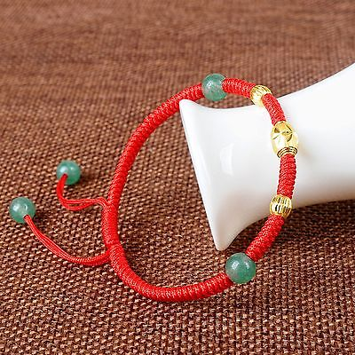 Pure 999 24k Yellow Gold Bracelet/Jade/Jadeite Bead Knitted Chain Bracelet 1gPure 999 24k Yellow Gold Bracelet/Jade/Jadeite Bead Knitted Chain Bracelet 1g