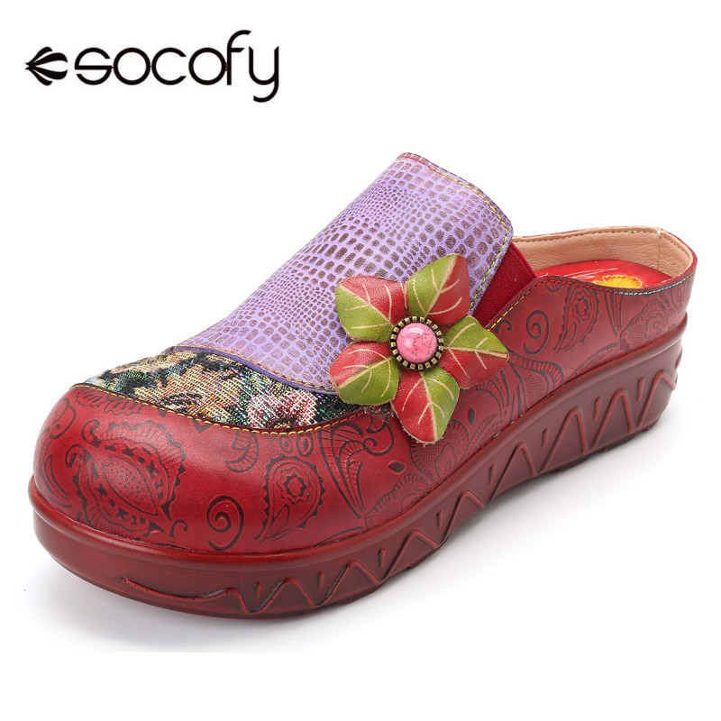 Socofy Patchwork Platform Slippers Women Shoes Vintage Genuine Leather Handmade Flower Luxury Slippers Bohemian Summer Shoes socofy bohemian genuine leather shoes women sandals vintage printing forest hook loop wedge heel women slippers summer new