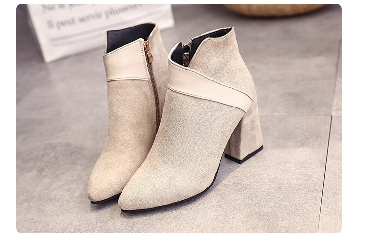 High heels shoes women autumn winter sexy pointed toe ankle boots ladies retro chunky heels short boots botas mujer beige black 62