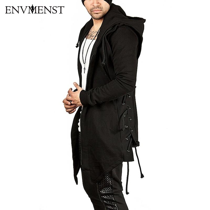 Envmenst Hoodies Hommes Assassin Style Corde Capot Pull High Street Coton De Mode Hip Hop Streetwear Casual À Capuche Automne