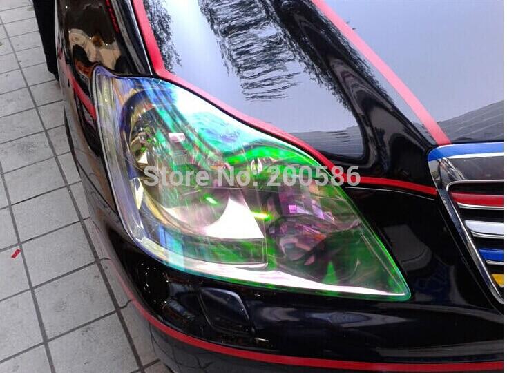 *Extra Wide* Chameleon Neo Chrome Orange Headlight Taillight Sticker Tint Film