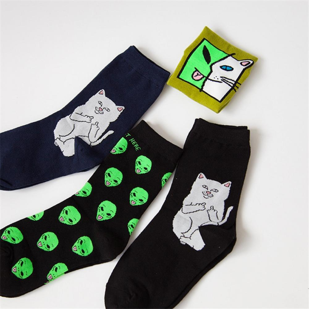 Long Crazy Cute Alien   Socks   Middle Cotton FLY   Socks   Cat   Socks   Alien Casual 2018 Planet Funny Unisex Cat Funny Harajuku
