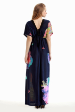 women dress casual plus size 7XL print loose V-neck maxi large size women clothes