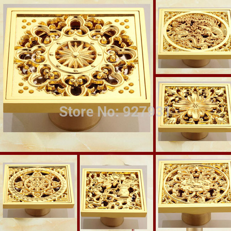 Free Shipping Golden 4 Inch Squre Shower Drain Bathroom Floor Waste Drain(China  (Mainland