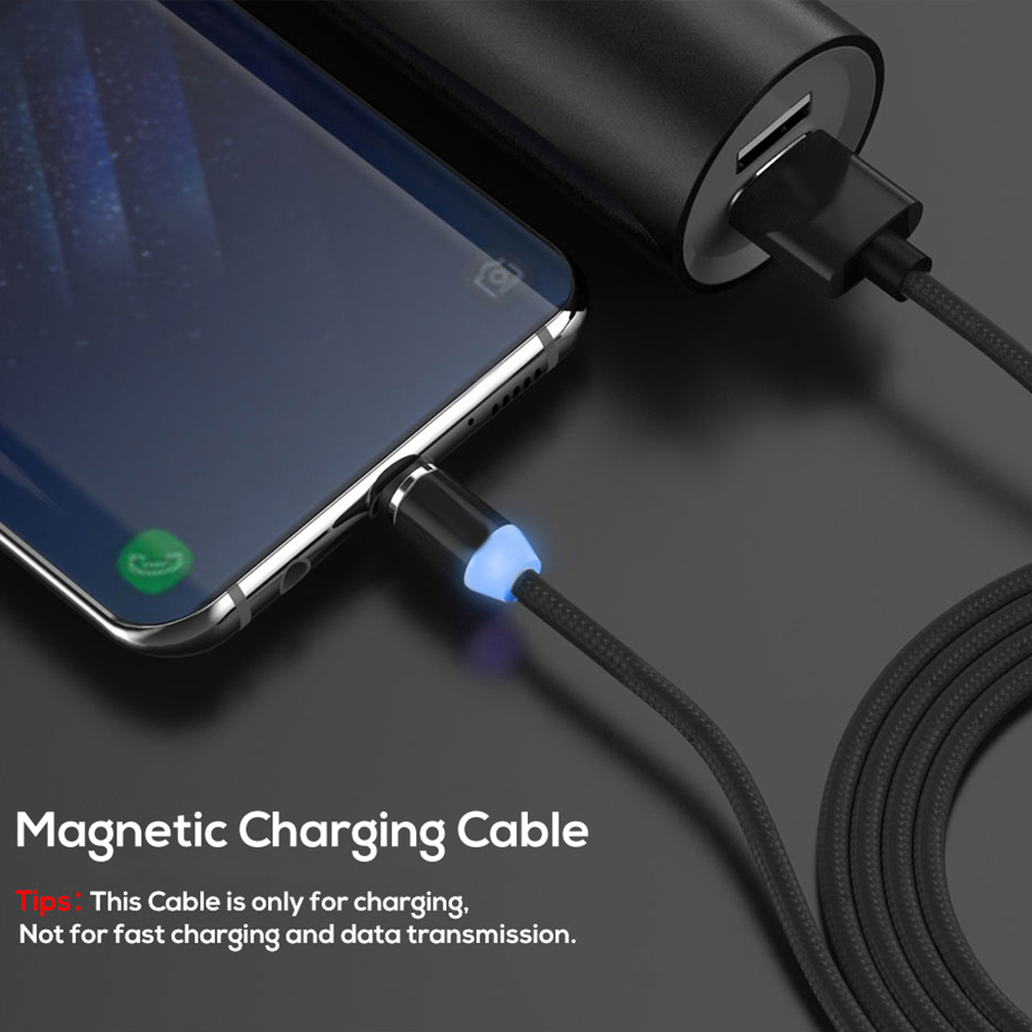 1M LED Magnetic Charge Cable Micro USB Cable For iPhone XR XS Max X Magnet Charger USB Type C Cable LED Charging Wire Cord in Mobile Phone Chargers from Cellphones Telecommunications
