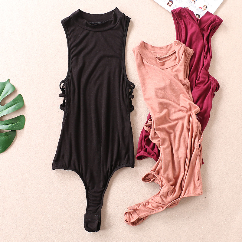New Summer Fashion Sexy V Neck Side Cross Criss Lace Up Women Bandage Bodysuit Women Bathsuit Hollow Out Celebrity Overalls