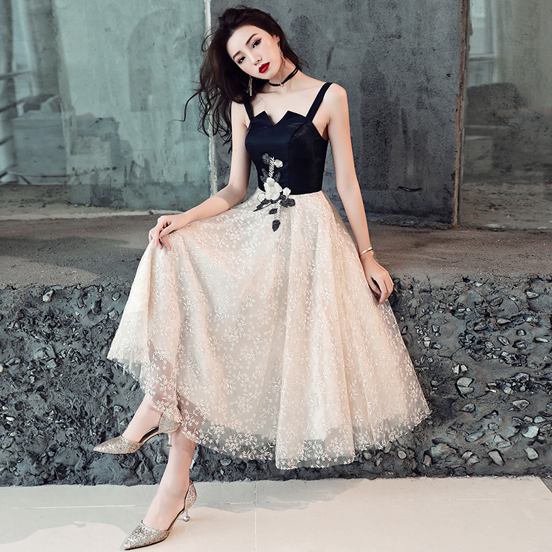 Boat Neck   Prom     Dress   Elegant Spaghetti Strap Black Patchwork Party   Dress   Appliques Knee-length Sleeveless Formal Party Gown E026