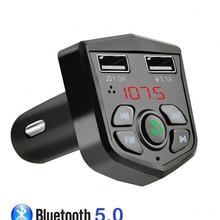 Bluetooth 5,0 Handsfree автомобильный комплект fm-передатчик 3.1A Быстрый двойной USB зарядное устройство ЖК цифровой вольтметр TF карта U диск AUX плеер