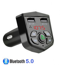 Bluetooth 5.0 Handsfree Car Kit FM Transmitter 3.1A Quick Dual USB Charger LCD Digital Voltmeter TF Card U disk AUX Player(China)