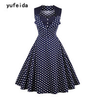 YUFEIDA Women Summer Vintage Dress Skull Head Wave Dots Print 50s 60s Casual Robe Rockabilly Style Dress Party Swing Dresses