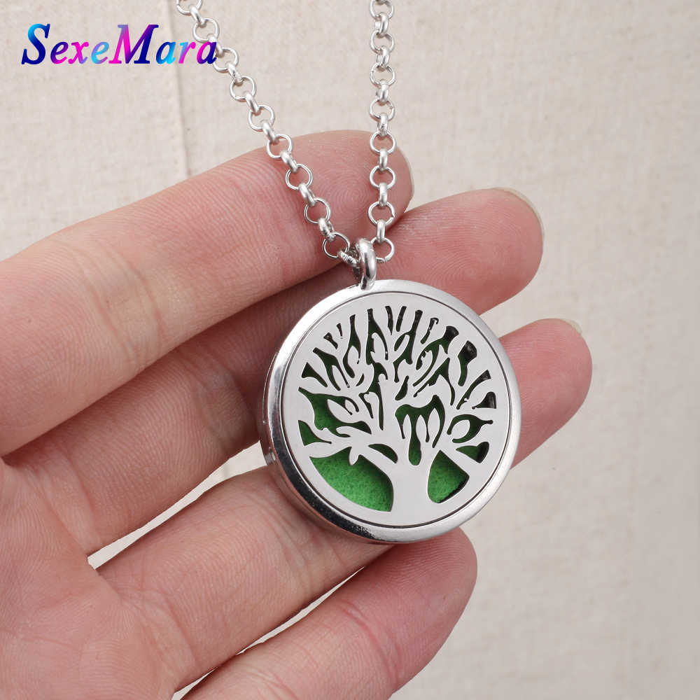 Aroma Diffuser Necklace Flower  Stainless Steel locket pendant Aromatherapy Essential Oil Necklace For Gifts