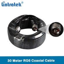 Lintratek Groothandel 30 meter rg6 coaxiale kabel hoge kwaliteit met N male connectoren voor Mobiele Signaal Repeater en antenne @ 7.2