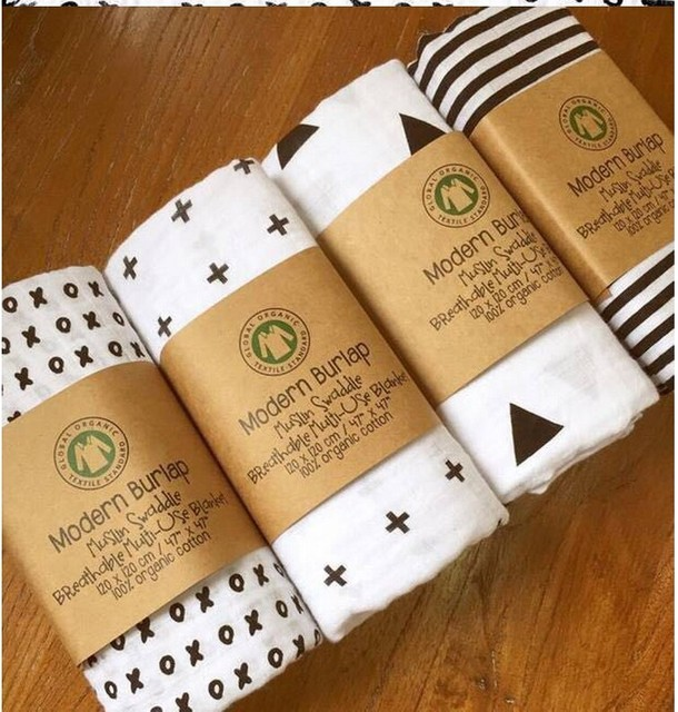 Soft Organic Cotton Muslin Swaddle Bath Towel Modern Burlap ...