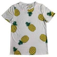 Hot Style Pineapple Print Tees Short Sleeve T-shirt Women t shirt Summer Cotton t-shirt 2017 Summer Women Tops Causal t-shirts D