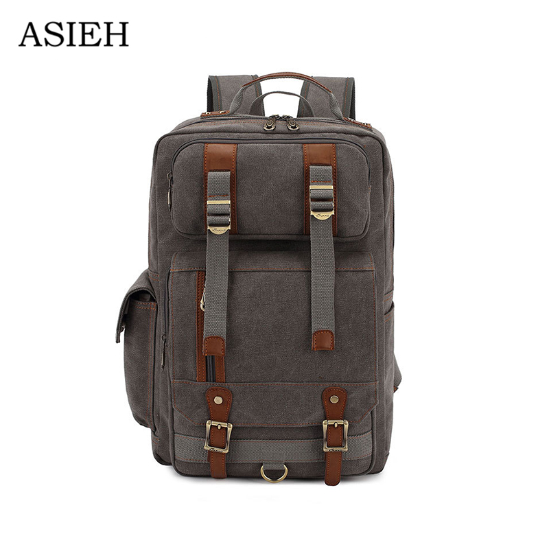 Unisex Vintage Retro Canvas Backpack Travel Casual Leather Bags Male and females schoolbag for Teen Girls and Boys Travel Bag top hot cow leather canvas backpack women vintage backpack casual travel men backpack climbing bag for girls boys