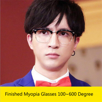 Literary Retro Student Myopia Glasses With Degree Women Men Finished Myopia Glasses -1.0 -1.5 -2.0 -2.5 -3.0 -3.5 -4.0 To -6.0
