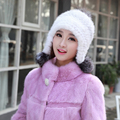 Winter Fur Caps For Women Knit Genuine Mink Fur Hats Fox Fur Pom poms Hats Real Mink Beanies Skullies Female