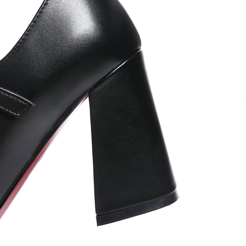 Genuine leather high heels ladies mary janes shoes woman black women pumps mather casual shoes woman large size 42-in Women's Pumps from Shoes    3