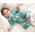 Roupas Bebê recém-nascido Menino Romper Infantil Manga Longa Flor de Impressão Bebé Macacão Macacão Pijama Roupa Do Bebê Menina de 1 2 anos